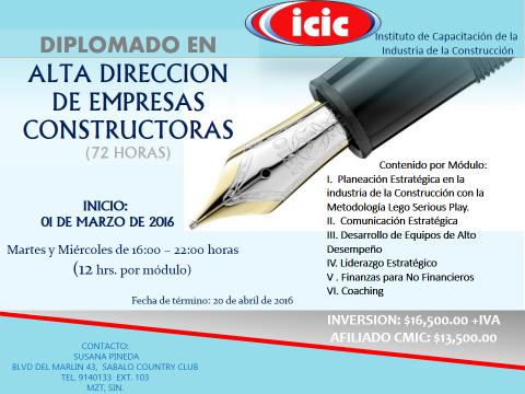 Diplomado en Alta dirección de empresas constructoras